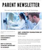 Parent Newsletter (AP Psych) | Scientific Foundations of Psychology *Editable