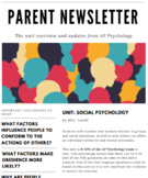 Parent Newsletter (AP Psych) | Social Psychology *Editable