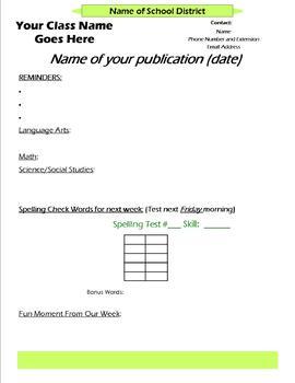Parent Newsletter Format