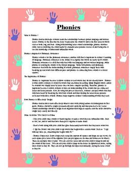 Parent Newsletter - Phonics and Phonological Awareness