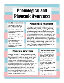 Parent Newsletter - Phonological and Phonemic Awareness
