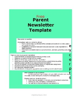 Parent Newsletter Template