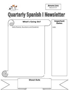 Parent newsletter template by senora brannans spanish mercado tpt parent newsletter template maxwellsz