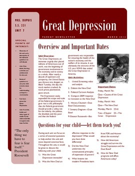 Parent Newsletter - The Great Depression
