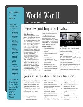 Parent Newsletter - WWII