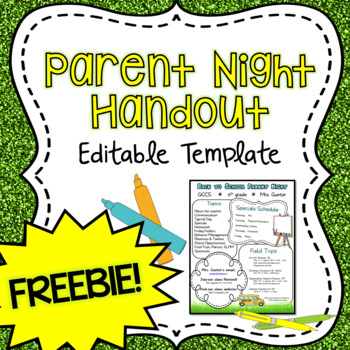 Parent Night/Back to School Night Handout FREEBIE