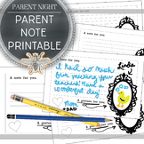 Parent Night Note Printable Handout, Write a Note to Your Child & Draw a Picture