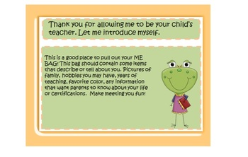 Parent Night, Open House, Parent Orientation Power Point Frog Template