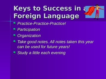 Parent Night Power Point Presentation for the Foreign Language Classroom