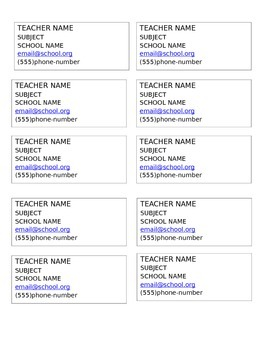 Parent Night Teacher Business Cards - Science