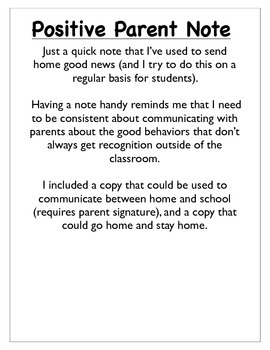 Parent Note - Good News!
