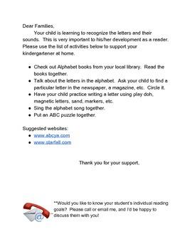Parent Note: Letter/Sound Activities