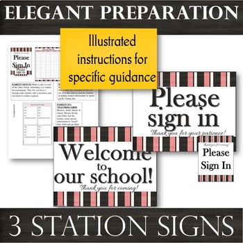 Parent Sign-In BUNDLE:Sheets, Information Cards, Parent-to-Teacher Cards & Signs