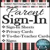 Parent Sign-In Pack:Sheets, Information Cards, Parent-to-Teacher Cards & Signs