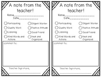 Parent Notes - FREEBIE