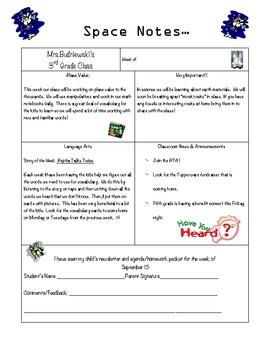 Parent Notes: Space Theme