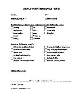 Parent Notification Form