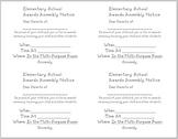 Parent Notification of Awards Assembly - slips (English & Spanish)