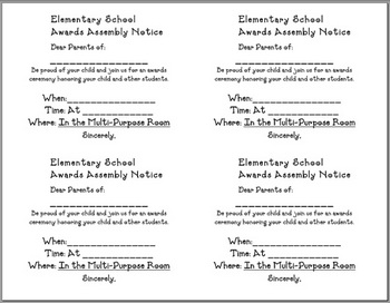 Parent Notification of Awards Assembly - slips (English & Spanish)
