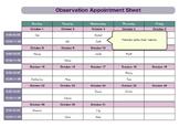 Parent Observation Appointment Sheet