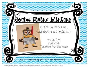 Art- Scuba Diving Minion- Print, Cut and Glue