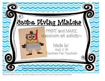 Parent Pack- Art- Scuba Diving Minion- Print, Cut and Glue