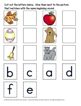 Matching Beginning Sounds With Pictures- A Cut and Glue Activity