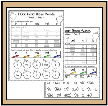 Reading Words Pack for the 100 Most Frequently Used Words