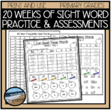 High Frequency Words Worksheets and Assessment for 20 Weeks of Learning