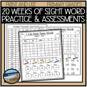 Reading Words Pack for the 100 Most Frequently Used Words Wks 1-5