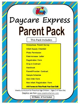 Parent Pack (Sample Handbook & Registration Form, Survey & More) *Able to Edit*