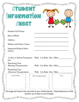 Back To School packet (teacher and parent)