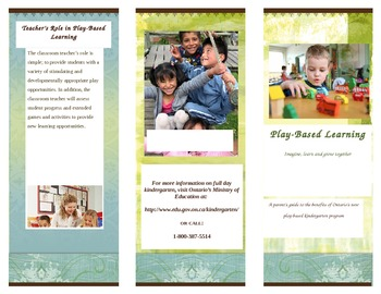 Parent Pamphlet: Kindergarten Play-Based Learning