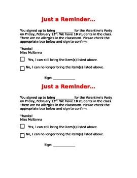Parent Party Reminder