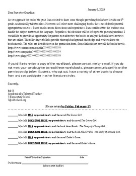 Parent Permission Form for Reading Developmentally Advanced Books
