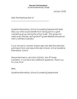 Parent Permission Slip, School Counseling Intern