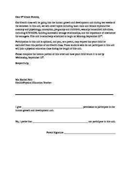 Permission slip for sex education