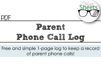 Parent Phone Call Log