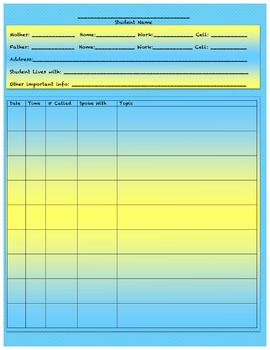 Parent Phone Log- Blue and Yellow