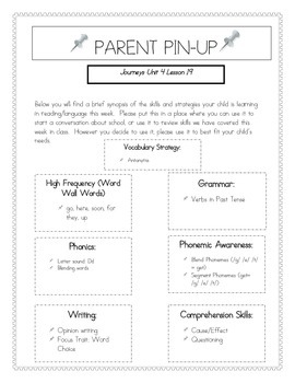 Parent Pin-Ups for Journeys Lessons Unit 4 Bundle