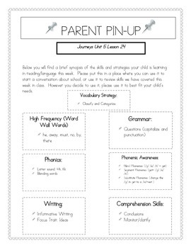 Parent Pin-Ups for Journeys Lessons Unit 5 Bundle