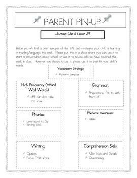 Parent Pin-Ups for Journeys Lessons Unit 6 Bundle