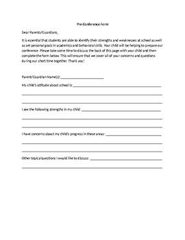 Parent Pre-Conference Form