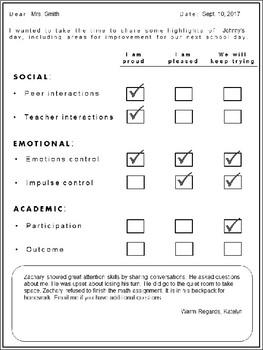 EDITABLE Behavioral Progress Note for Parents of Disruptive Children