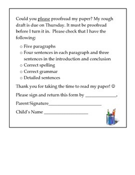 Parent Proofreading Form