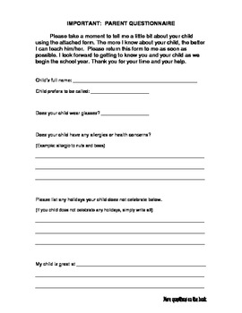 Parent Questionnaire 2 pages