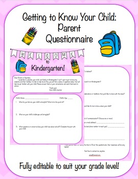 Fully Editable Student Information Parent Questionnaire Survey