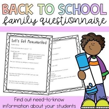 Parent Questionnaire Back to School
