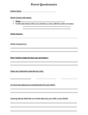 Parent Questionnaire Back to School Night