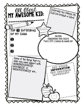 Parent Questionnaire FREEBIE!